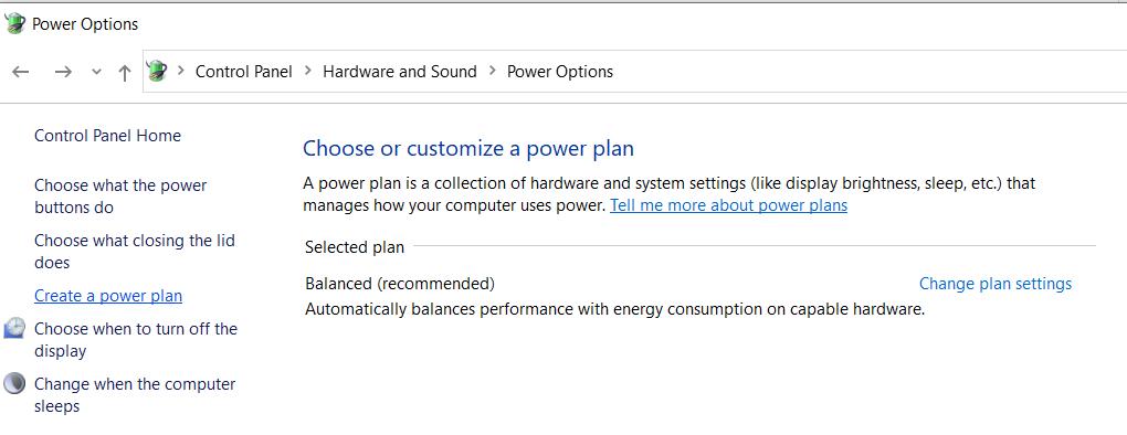 Set Your Power Plan