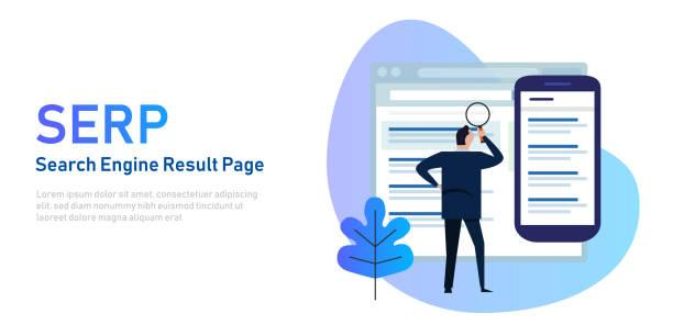 SERP Search Engine Result Page on screen and mobile device. Vector illustration
