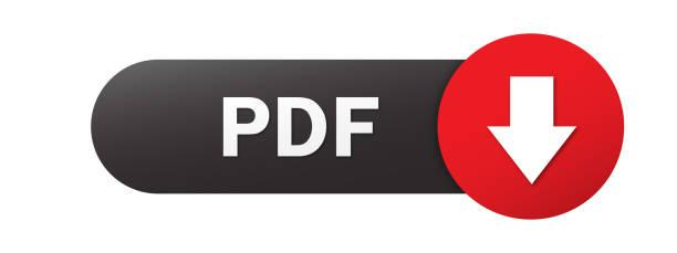 PDF black and red vector web button with down arrow